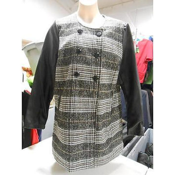 Women's Leather Sleeved Jacket, Large, White Plaid/Black Ib Diffusion