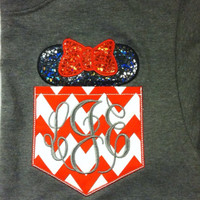 Short Sleeve Chevron Pocket tee Mickey or Minnie- plus size -great for Disney trips- family shirts available XXL XXXL