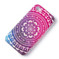 Faux Leather Multi-Color Floral Medallion iPhone Cover for 4 & 4S  | Icing
