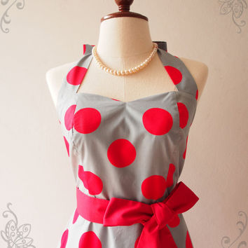 Skater Dress Halter Red Polka Dot Big Dot Gray Christmas Summer Sundress Valentine Dress - High Quality Handmade Dress - ,XS-XL, custom