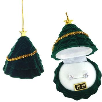 Cubic Zirconia Studs Earrings in Christmas Tree Gift Box