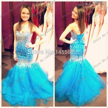Abendkleider Crystal 2015 Custom Made Mermaid PLus Size Blue Prom Dresses Long Tulle Rhinestone Evening Gown Robe de Soiree
