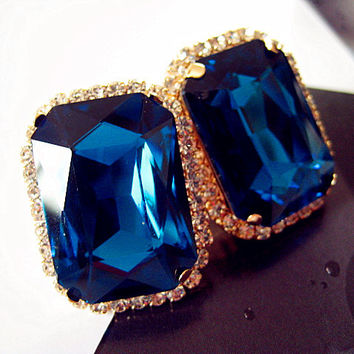 Fashion multicolour gem elegant  ladies personality super large crystal stud earrings E026