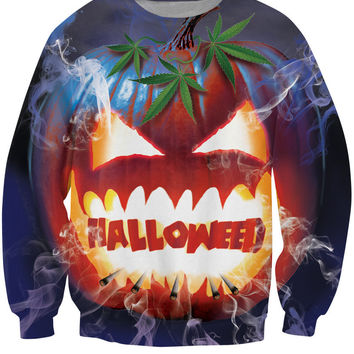 Halloweed Sweatshirt jack-o-lantern Weed Leaf Drugs Sweats Funny Fashion Clothing Jumper Women Men  Tops  Tops Hoodies