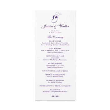 Purple Monogram Wedding Program Custom Rack Card from Zazzle.com