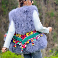 Fur Vest with Embellished Jewel Waist in Gray