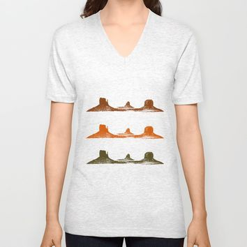 Monument Valley, 3 mountains, 3 colors Unisex V-Neck by Claude Gariepy
