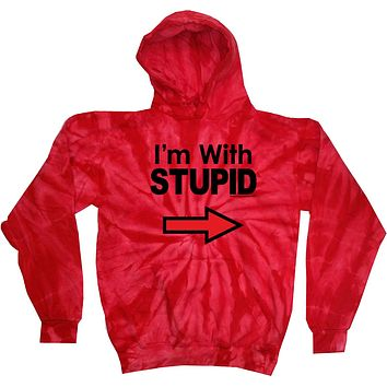 Buy Cool Shirts I'm With Stupid Hoodie Black Print Tie Dye Hoody