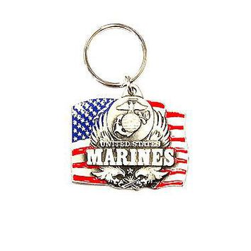 Marines Heavy Duty Metal Pewter Keychain United States US Military Marine Corp