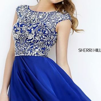 Short High Neck Dress with Cap Sleeves by Sherri Hill