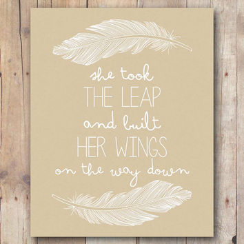 She Took The Leap, Built Her Wings, Boho Wall Art, Inspirational Print, Instant Download, Tribal Decor, Feathers Printable, Gift For Her