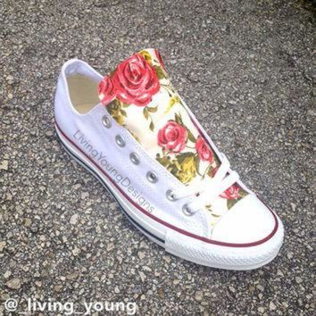 DCKL9 Roses Floral Converse Shoes / Custom Floral Chuck Taylors