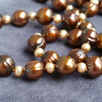 Honora cultured chocolate pearl and sterling silver hand knotted necklace