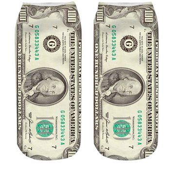 All About the Benjamins $100 Bill Ankle Socks