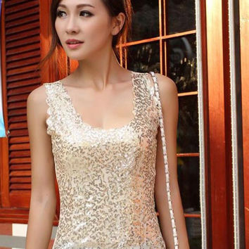New Arrive Women Sleeveless T Shirts Ladies Sparkling Bling Tank Singlets Sequined Tops Female Blouse