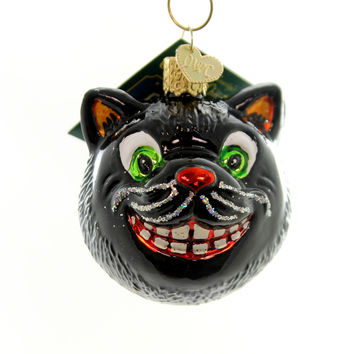 Old World Christmas Grinning Cat Halloween Glass Ornament