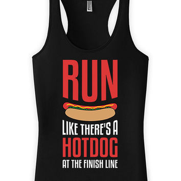 Funny Running Tank Run Like There's A Hot Dog At The Finish Line Racerback Tank Top American Apparel Race Gifts Tank Tops For Women WT-31A