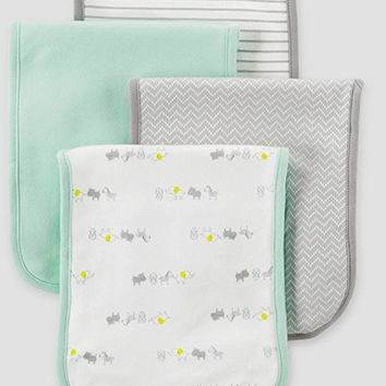 Carter's Just One You Baby Burp Cloth 4 Pack Set Unisex, Boy Girl Mint Green Grey White Animals