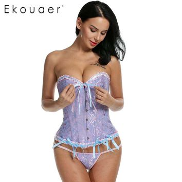 Ekouaer Corsets Plus Size Women Corsets and Bustiers Sexy Shaperwear Sexy Bridal Waist Cincher 6XL Slim Corset With G-string
