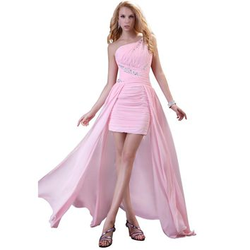 Sexy Pink Front short long Back Evening Dresses Elegant women Formal Gowns Party Dinner Dresses