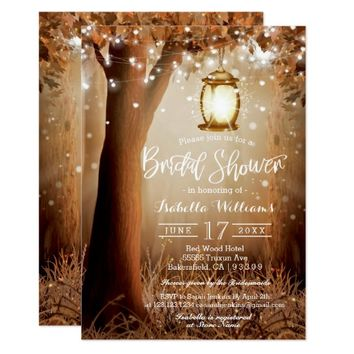 Chic Rustic Country String Lights Bridal Shower Card