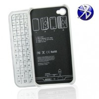 Bluetooth Wireless Hard Shell Slider QWERTY Keyboard Case for iPhone 4 (White Color)