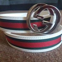 Gucci Belt Green And Red Design Silver Buckle 42""
