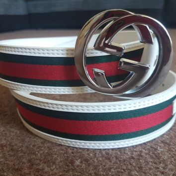 """Gucci Belt Green And Red Design Silver Buckle 42"""""""