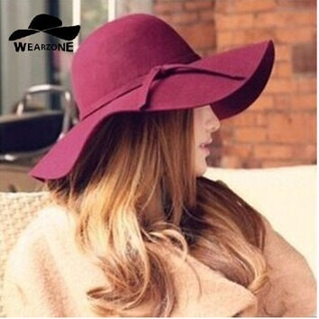 Women Soft Wide Brim Wool Felt Bowler Fedora Floppy Hat - 3 colors