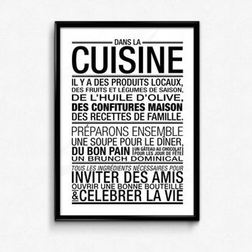 Black and White Typographic Art Kitchen Decor 70x100, 50x70, A4