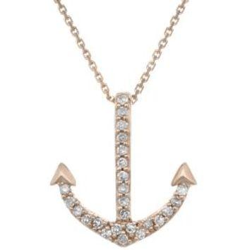 10K Rose Gold Anchor Mini Pendant with Diamonds (.07cttw, I-J Color, I2-I3)