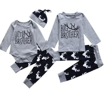 Kids Baby Boys Brothers Matching Clothes Big Brother T-shirt Little Brother Romper Tops +Long Pants Outfits Clothing Sets 0-5Y