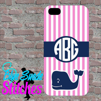 Pink Whale Designer Inspired Custom Monogram Phone case! iPhone 4, 5, 6 and 6+