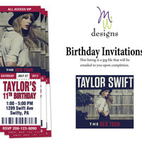 Taylor Swift - Printable Concert Ticket Birthday Invitation