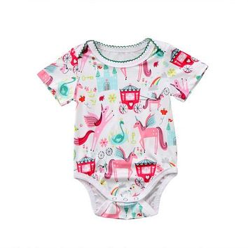 Fashion Newborn Baby Girl Clothing Cute Animals Short Sleeve Bodysuits Jumpsuit Playsuit Clothes Outfit Summer Baby Girls 0-18M