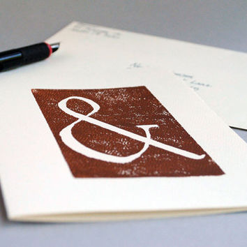 Ampersand Greeting Card Brown Linocut Blank by CursiveArts