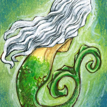 Mermaid Print, White Hair, Fantasy Art, 8x10 Wall Art, Under The Sea, Green and Blue, Gift for Girls, Childrens Room Art, Nautical Decor