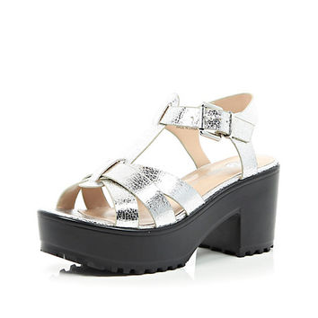 River Island Womens Silver metallic strappy chunky sandals