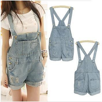 Top Quality 2017 Women Girls Washed Jeans Denim Casual Hole Jumpsuit Romper Overalls Jeans Shorts  Summer Style Macacao Feminino
