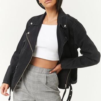 Belted Denim Moto Jacket