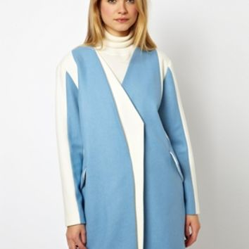 ASOS Coat With Asymmetric Color Block