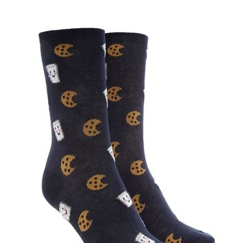 Milk & Cookies Print Crew Socks
