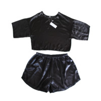 Black Satin Crop & Shorts Twin Set