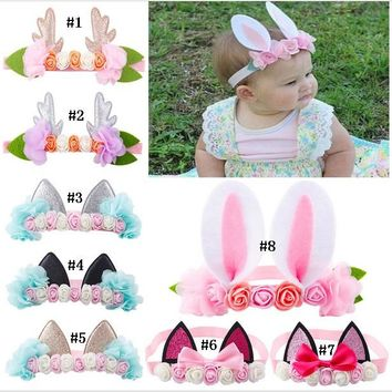 20 pcs / lot ,Girls Kids Pair Felt With Glitter Center Unicorn Ears For Girls And Kids cat ears Headband Unicorn Party Girl
