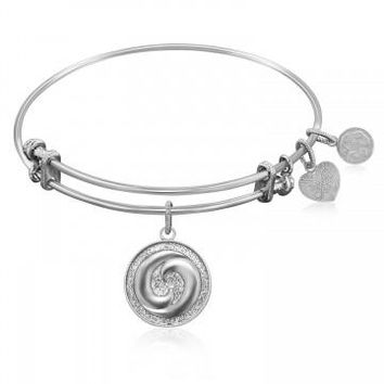 Expandable Bangle in White Tone Brass with Yin And Yang Perfect Balance Symbol