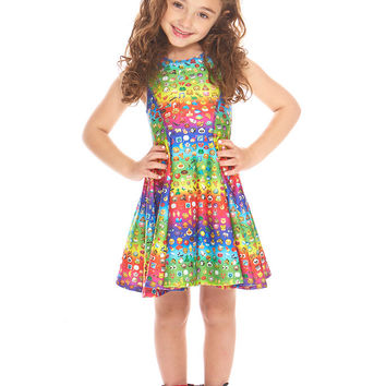 Kids Emoji Rainbow Skater Dress