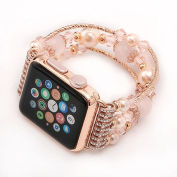 Apple Watch Band, Handmade Elastic Stretch Faux Pearl Natural Stone Bracelet Wristband Replacement iWatch Strap for Apple Watch