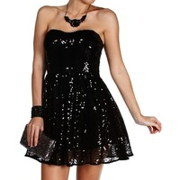 Raquel- Black Strapless Sequin Short Dress