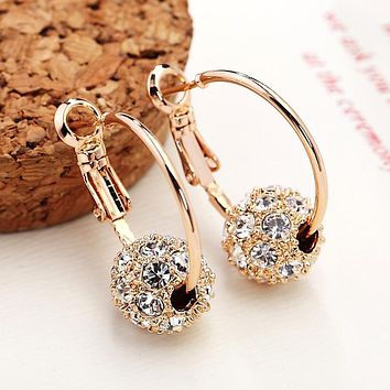 Fashion Austrian Crystal Ball Gold Silver Earrings For Woman Party Wedding Jewelry