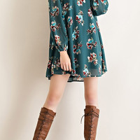 Fall Favorite Floral Shift Dress in H. Green